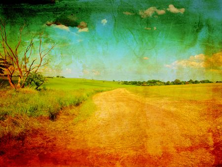 antiek behang: Mooi grungy achtergrond met landelijke weg  Stockfoto