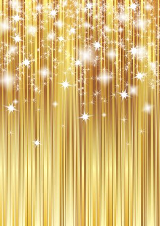 Golden background with shining stars photo