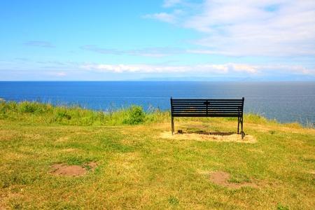 A bench on the seashore, Ayrshire  photo