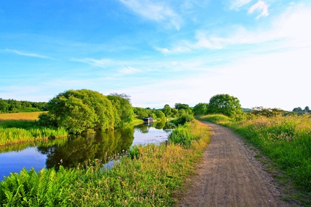 Forth and Clyde Canal in Scotland, walking path photo