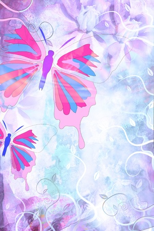 Beautiful grungy background with butterfly and swirls photo