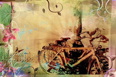 Beautiful retro design with old bikes photo