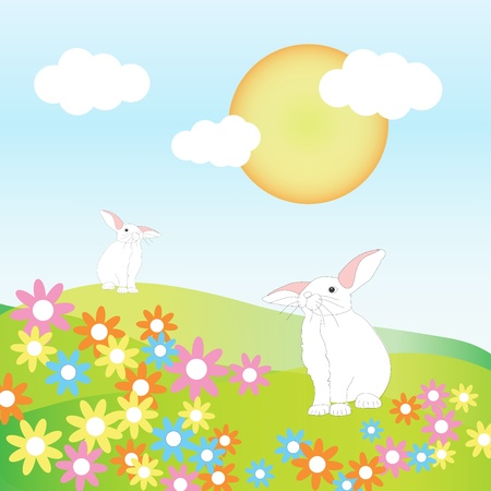 Two rabbits on Spring hills among flowers, illustration illustration