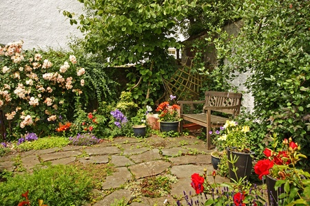 Lovely garden with a wooden bench photo