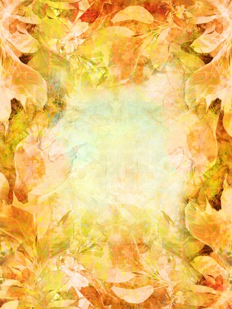 Autumnal background with orange leaves and texture photo