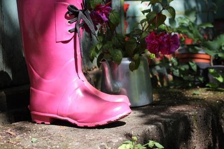 wellingtons: Pink wellingtons in the garden