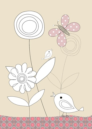 Pretty birds and flowers childrens illustration on beige background Stock Illustration - 11451952