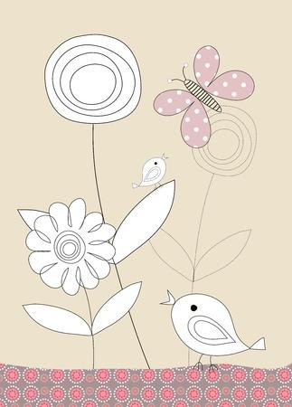 Pretty birds and flowers childrens illustration on beige background Stock Illustration - 11451952