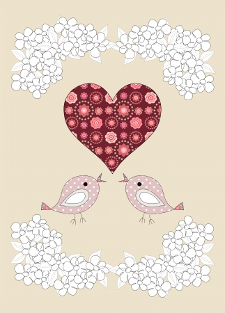 Pretty birds and flowers childrens illustration on beige background illustration