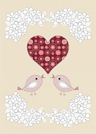 Pretty birds and flowers childrens illustration on beige background illustration