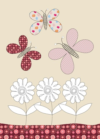 Pretty butteflies and flowers childrens illustration on beige background illustration