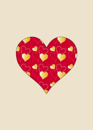 White flowers and a red heart illustration on beige background Stock Illustration - 11452000