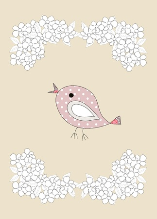 A cute, little birds and flowers on beige, illustration illustration