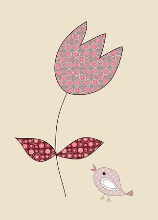 A cute, little bird and a tulip on beige, illustration illustration