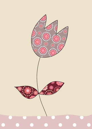 A lovely tulip on beige background, illustration illustration