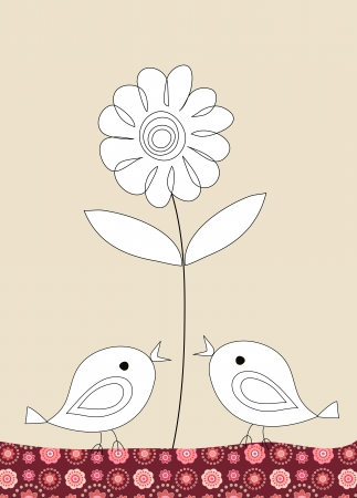 Two cute birds and a flower on beige background, illustration illustration