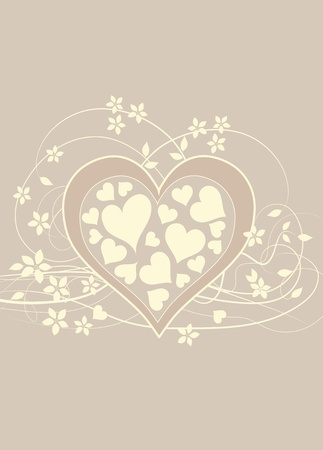 Soft and pretty beige love background with heart , swirls and flowers Stock Photo - 11451970