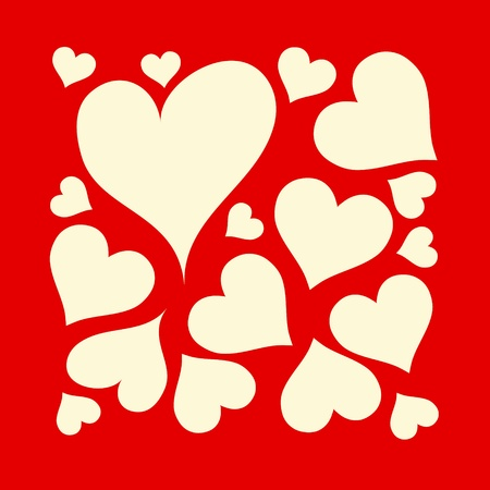 creamy: Beautiful, red background with creamy love hearts design