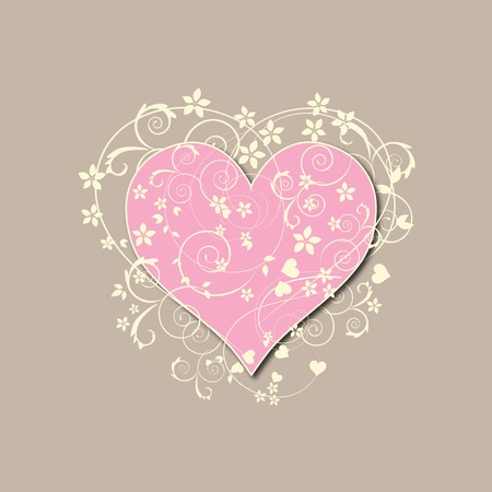 Beautiful, beige retro love background with pink heart, swirls and flowers Stock Photo - 11451978