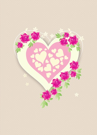 Beautiful retro love heart with pink roses on beige polka dots background photo