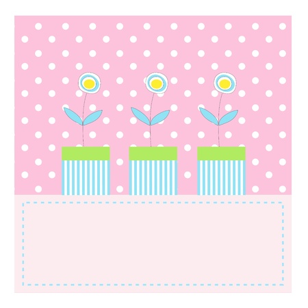 Three pretty flowers in pots on pink polka dots background photo