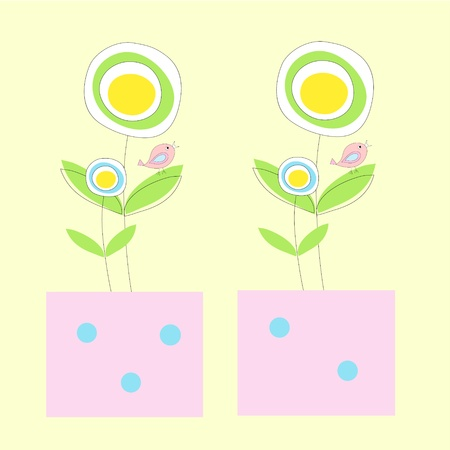 Two pretty pots with flowers and birds on yellow background Stock Photo - 11451967