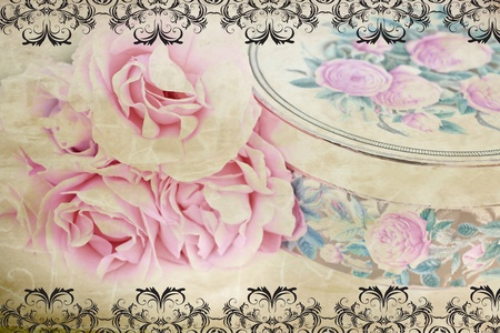 Lovely retro desing with roses and black embroidery border photo