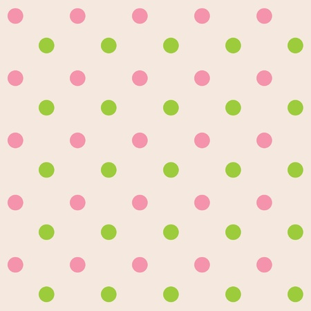 polka dots: Dots cream pink green seamless pattern