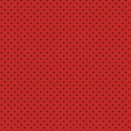 Polka dots seamless pattern, black dots on red  Vector