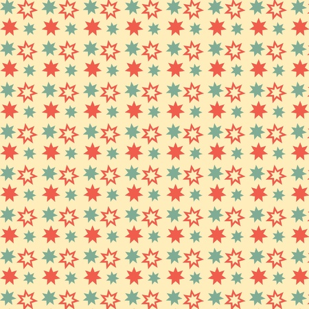 Red and green stars on cream background  Vector