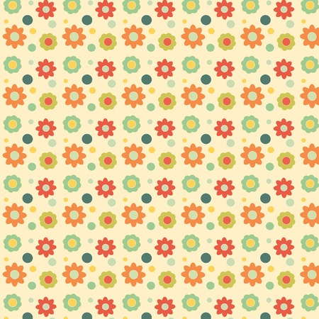 colurful: Red and yellow retro flowers and green dots on cream background