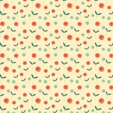 Red and yellow retro flowers and green dots on cream background Vector