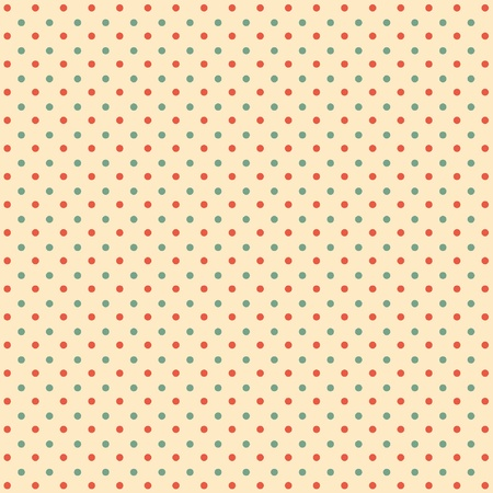 Deep red and green dots on cream background Vector