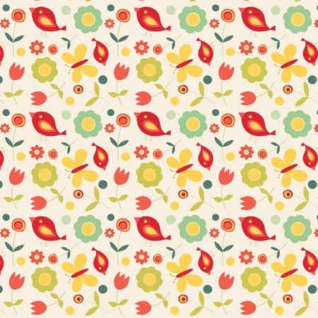 Retro birds and flowers pattern on cream background Vector