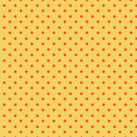 Polka dots pattern, red dots on yellow Vector