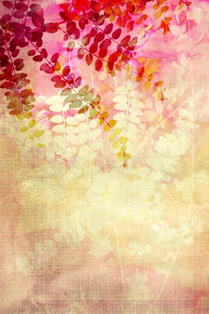 Red leaves decorative grunge background photo