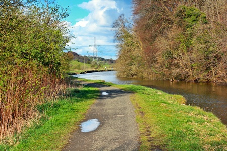 Forth and Clyde Canal, walking path in Springtime, Scotland photo