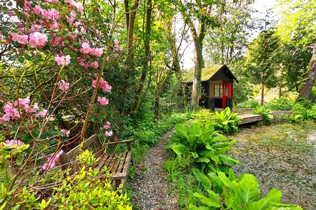 Beautiful romantic garden with a shed in Springtime photo