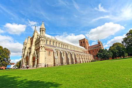 St Albans Cathedral on sunny day, wide angle view Stock Photo