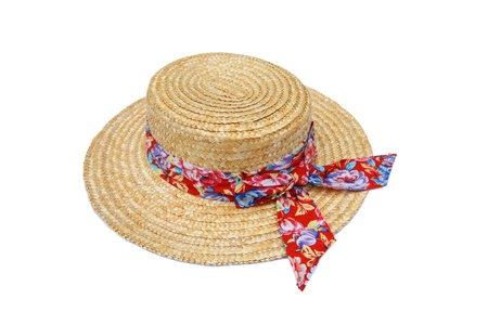 Summer straw hat with red ribbon isolated on white Stock Photo - 13880005