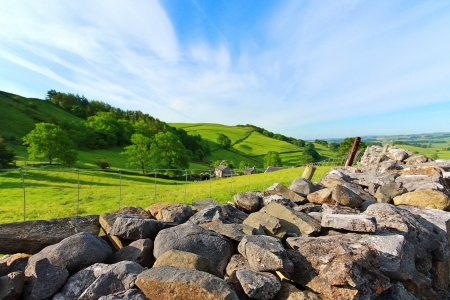 Beautiful landscape with stone walls, Yorkshire Dales, England , Great Britain photo