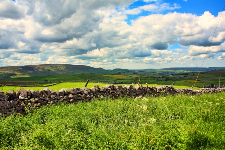 Beautiful landscape with stone walls, Yorkshire, England , Great Britain photo