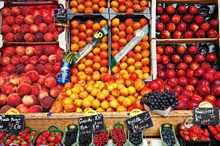 Fresh fruit in the street market, Paris, France photo