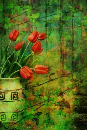 Grunge, Spring background with red tulips in the vase photo