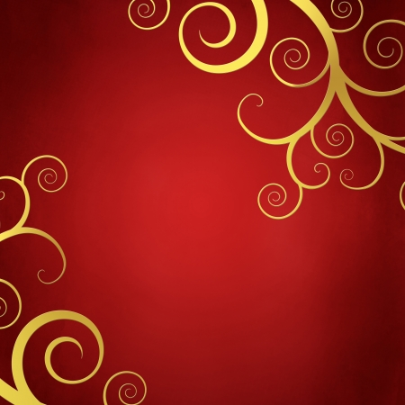 Elegant christmas background with golden swirls photo