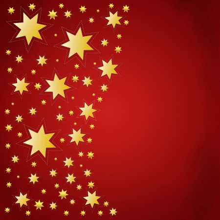 Red christmas background with golden stars photo