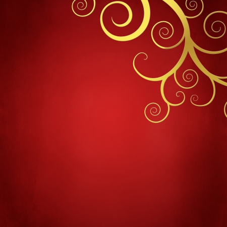 Elegant christmas background with golden swirls photo