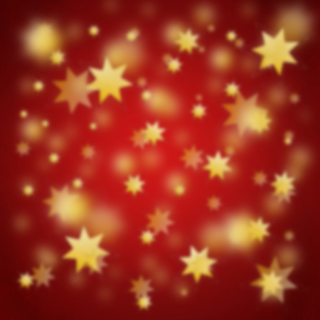Red blurry christmas background with golden stars photo