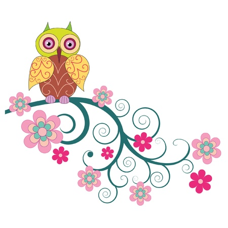 A cute owl sitting on the branch of flowers vector illustration Illustration