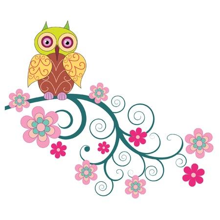 hibou: Un hibou mignon se reposant sur la branche d'un vecteur fleurs illustration Illustration